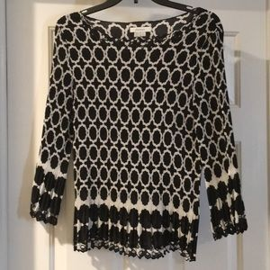 dress barn, size Large, black and white blouse